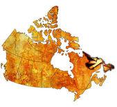 Newfounland y labrador en mapa de canadá — Foto de Stock