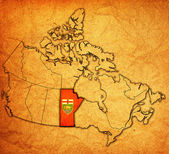 Manitoba on map of canada — Stock Photo