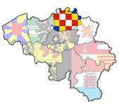 Antwerp on map of belgium — Stockfoto
