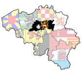 Flemish brabant on map of belgium — Foto Stock