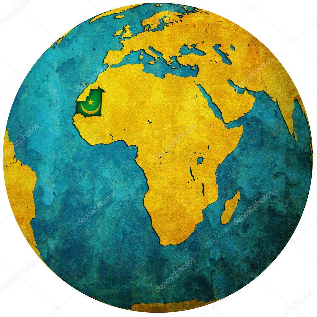 毛里塔尼亚国旗在世界地图上