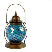 Blue Glass and Bronze Lantern — Stock Photo