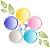 Flower logo design with petals — Stock Vector