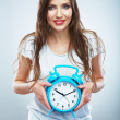 Young smiling woman hold watch. Beautiful smiling girl portrait — Stock Photo #26230913