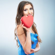 Heart, love symbol young happy woman hold — Stock Photo #26231471