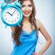 Young smiling woman hold watch. Beautiful smiling girl portrait — Stock Photo #26231851