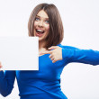 Woman student hold white blanc card — Stock Photo