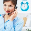 Call center smiling operator with phone headset. — Stock Photo #26232107