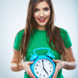 Young smiling woman hold watch.  — Stock Photo