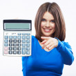 Young woman hold digital calculator. — Stock Photo