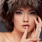 Young woman portrait. Closeup beauty studio shoot. — Stock Photo