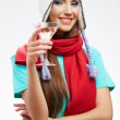 Winter hat and red scarf on young happy woman. — Stockfoto