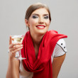 Smiling woman hold wine glass — Stock Photo #26239947