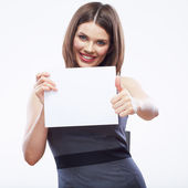 Business woman hold white blank paper. — Stock Photo