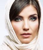 Woman shawl portrait — Stock Photo