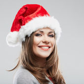 Christmas Santa hat isolated woman portrait. — Stock Photo