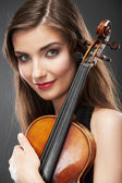 Woman fashion style portrait with violin music instrument . — Stockfoto