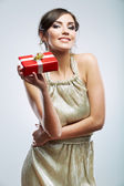 Young woman portrait hold gift — Stock Photo