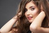 Krásná mladá žena tvář — Stock fotografie
