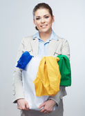Business woman hold shopping bags isolated on white background. — Stock Photo