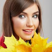 Beauty woman face close up portrait. — Stock Photo