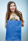Portrait of happy smiling woman hold shopping bag. Female mode — Stock Photo