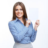 Businesswoman hold white blank paper. — Stock Photo