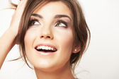 Close up portrait of beautiful young woman face. — Stock Photo