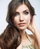 Tvář ženy s dlouhými vlasy — Stock fotografie