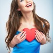 Heart, love symbol young happy woman hold — Stock Photo