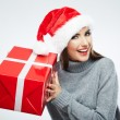 Christmas Santa hat isolated woman — Stock Photo