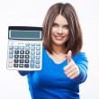 Young woman hold digital calculator. — Stock Photo #26242387