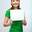 Girl student hold white blank board. White background young wom — Stock Photo