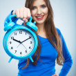 Stock Photo: Young smiling woman in blue hold watch. Beautiful smiling girl