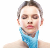 Beauty Woman face surgery close up portrait. — Stock Photo