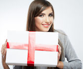 Woman hold gift — Stock Photo