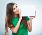 Teenager girl hold white blank paper. — Stock Photo
