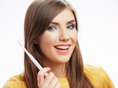 Woman with toothy brush. — Stock Photo