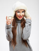 Woman winter style clothes portrait. — Stock Photo
