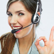 Customer support operator close up portrait.  call center smili — Stock Photo