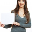 Girl holding blank paper — Stock Photo #34468247