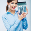 Business woman holding count machine — Stock Photo