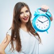 Smiling woman hold blue watch. — Stock Photo #34468685