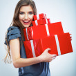 Portrait of young happy smiling woman hold red gift box. Isolat — Stock Photo #34468757