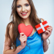 Valentine day concept, woman hold red heart, gift box. — Stock Photo