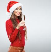 Vánoční santa girl s sklenice na víno — Stock fotografie