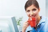 Business woman time out concept, red coffee cup. Break the work — Stock Photo
