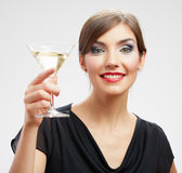 Smiling woman with glass — Stock Photo