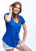 Girl listening music — Foto Stock