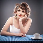 Woman portrait with curler hair — Stock Photo